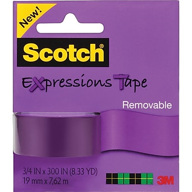 Scotch® Expressions Tape, Purple, Removable, 3/4in. x 300in.