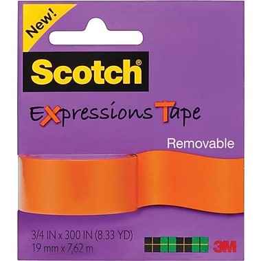 Scotch® Expressions Tape, Orange, Removable, 3/4in. x 300in.
