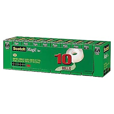 Scotch Magic Tape, 3/4in. x 1000in., 1in. Core, 10/pack (810P10K)