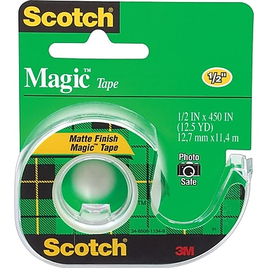 Scotch® Magic™ Tape, 1/2in. x 12 1/2 yds with Dispenser, 1in. Core