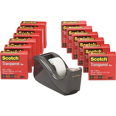 Scotch® Transparent Tape 600 with C-60 Desktop Tape Dispenser, 3/4