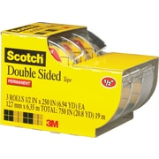 Scotch® Double Sided Tape with Dispensers, 1/2 x 250,  1 Core, 3/Pack