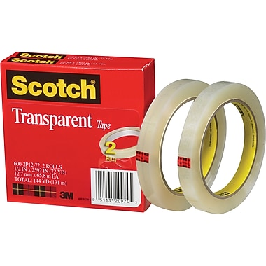 Scotch® Transparent Tape 600, 1/2in. x 72 yds, 3in. Core, 2/Pack