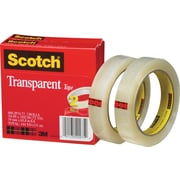 Scotch® Transparent Tape 600, 3/4 x 72 yds, 3 Core, 2/Pack