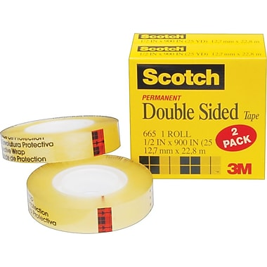 Scotch® Double Sided Tape 665, 1/2in. x 25 yds, 1in. Core, 2/Pack