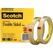 Scotch® Permanent Double-Sided Tape, 1/2 x 36 yds., 3  Core, 2/Pack