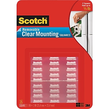 Scotch® Removable Mounting Squares, 11/16in. x 11/16in., Clear, 35/Pack