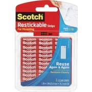 "Scotch® Restickable Strips, 1"" x 3 "", Clear, 6/Pack"