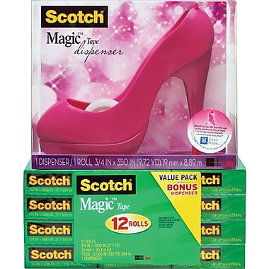 Scotch® Honeysuckle High Heel Shoe Dispenser Free with 12 Rolls of Magic Tape