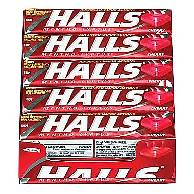 Halls® Mentho-Lyptus Cough Drops, Cherry, 20 Packs/Box