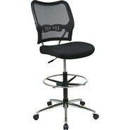 Office Star Space® Fabric Air Grid® Back Deluxe Drafting Chair with Chrome Base, Black Mesh Seat