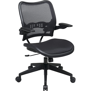 Office Star Space Seating Mid-Back Fabric Conference Chair, Adjustable Arms, Black (13-77N1P3)