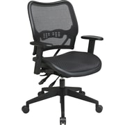 Office Star Space Seating Mid-Back Fabric Conference Chair, Adjustable Arms, Black (13-77N9WA)