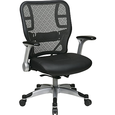 Office Star Space® Leather Deluxe Chair with R2 SpaceGrid® Back, Flip Arms and Platinum Base