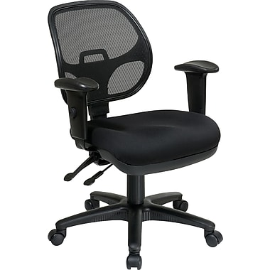 Office Star Ergonomic Metal Task Chair with ProGrid® Back and Adjustable Arm, Coal