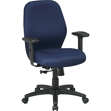Office Star Mid-Back Fabric Manager's Chair, Adjustable Arms, Navy