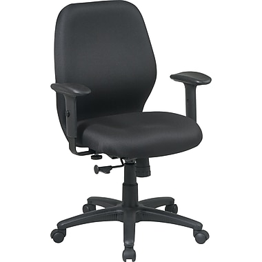 Office Star Fabric Manager Chair with Adjustable PU Padded Arm, Black Fabric Seat