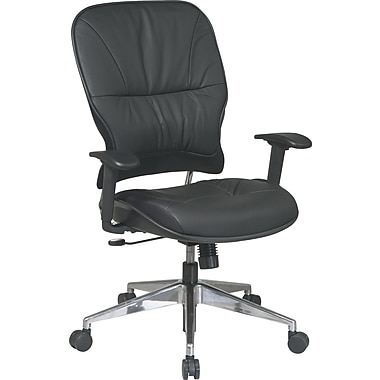 Office Star Space® Leather Managers Chair with Polished Aluminum Finish, Black
