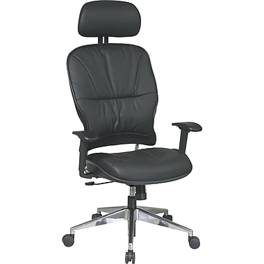 Office Star Space® Leather Managers Chair with Polished Aluminum Finish & Adjustable Headrest,Black