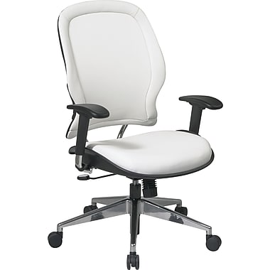 Office Star 33-Y22P91A8 Space Seating Vinyl Mid-Back Managers Chair with Adjustable Arms, White