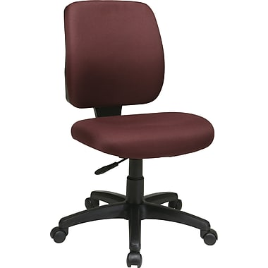 Office Star WorkSmart Mid-Back Fabric Task Chair, Armless, Burgundy