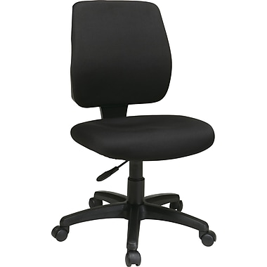 Office Star 33101-30 Work Smart Fabric Mid-Back Armless Task Chair, Black