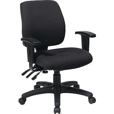 Office Star WorkSmart Gray Mid-Back Fabric Task Chair, Adjustable Arms