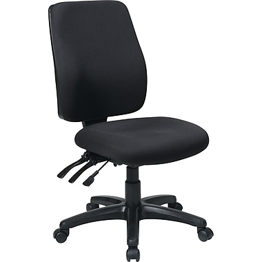 Office Star 33340-30 Work Smart Fabric High-Back Armless Task Chair, Coal