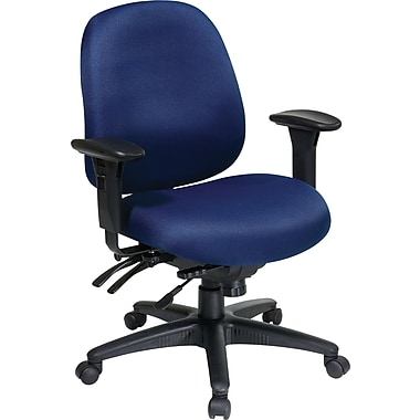 Office Star 43891-225 Work Smart Fabric Mid-Back Task Chair with Adjustable Arms, Navy