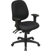 Office Star 43891-231 Work Smart Fabric Mid-Back Task Chair with Adjustable Arms, Black