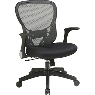 Office Star Space® Leather Deluxe Chair with R2 SpaceGrid® Back, Flip Arms and Nylon Base