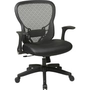 Office Star Space® Leather Deluxe Chair with R2 SpaceGrid® Back, Flip Arms