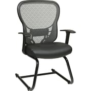 Office Star Space® Leather Deluxe Visitor Chair with R2 SpaceGrid® Back, Black
