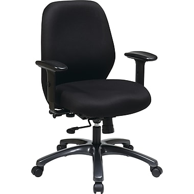 Office Star ProLine II® 24 Hour Polyester Fabric Ergonomic Chair with 2-to-1 Synchro Tilt, Black
