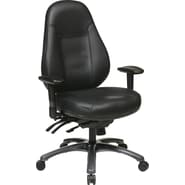 Office Star Multi-function Eco Leather Mid Back Chair, Black