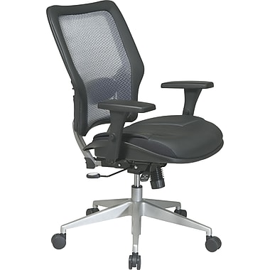 Office Star Space® Leather Manager's Chair with Light Air Grid® Back, Black