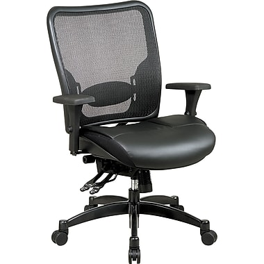 Office Star 68-50764 Space Seating Leather Mid-Back Conference Chair with Adjustable Arms, Black