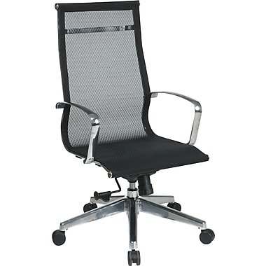 Office Star 7360MLT ProLine II Mesh High-Back Executive Chair with Fixed Arms, Black