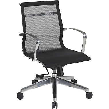 Office Star Proline II® Fabric Mid Back Screen Executive Chair, Black