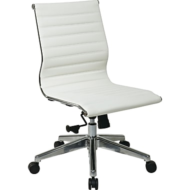 Office Star 73633 OSP Designs Eco Leather Mid-Back Armless Conference Chair, White
