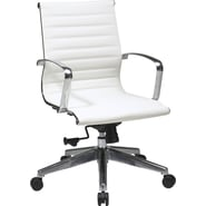 Office Star Eco Leather Mid Back Chair with Locking Tilt Control, White