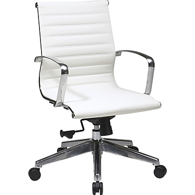 Office Star 74123lt OSP Designs Leather Mid-Back Conference Chair with Fixed Arms, White