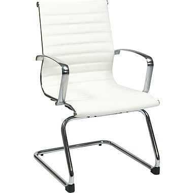 Office Star Proline II® Black Eco Leather Visitors Chair with Polished Aluminum Arm&Sled Base,White