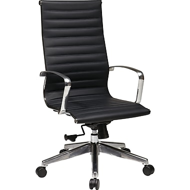 Office Star Designs High-Back Leather Executive Chair, Fixed Arms, Black