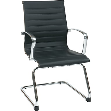 Office Star Proline II® Black Eco Leather Visitors Chair with Polished Aluminum Arm&Sled Base,Black