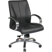 Office Star Proline II® Leather Deluxe Mid Back Executive Chair, Black, Polished Aluminum Finish