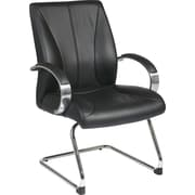 Office Star Proline II® Leather Mid Back Executive Guests Chair, Black