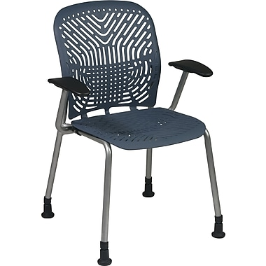Office Star SpaceFlex® Platinum Seat and Back Guest Chair with Arm and Glide, Blue Mist