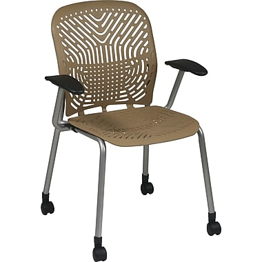 Office Star SpaceFlex® Platinum Seat and Back Guest Chair with Arms and Castors, Latte/Platinum