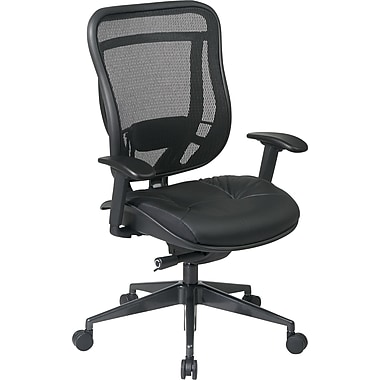 Office Star Space® Leather High Back Executive Chair with Matrex Back and Seat, Black